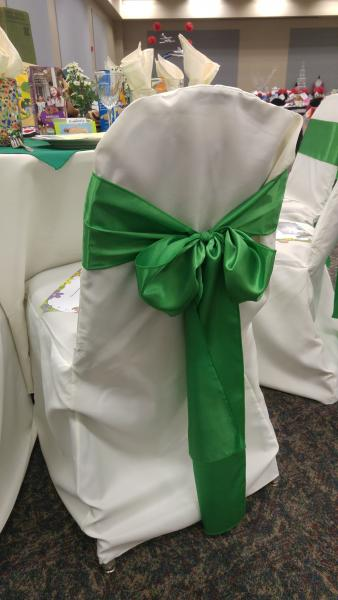 [Image: White polyester chair sash with green satin tie ]